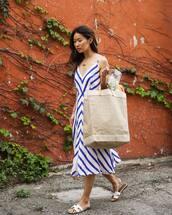 shoes,slide shoes,white slides,dress,maxi dress,blue dress,bag