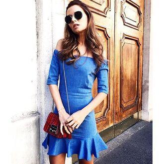 dress denim blue storets off the shoulder