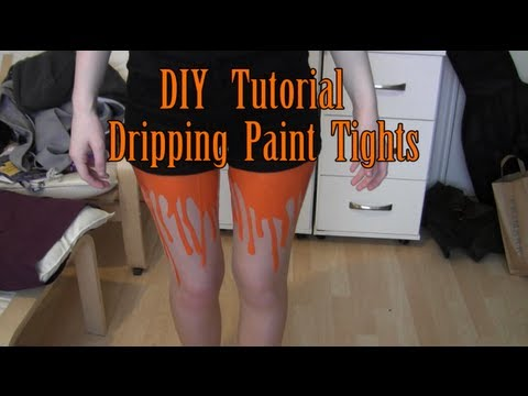 DIY dripping paint tights