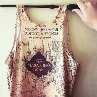 top harry potter print geek beige