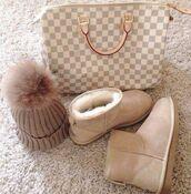 hat,beanie,beige,pom poms,shoes,bag,louis vuitton,checkered,handbag,nude