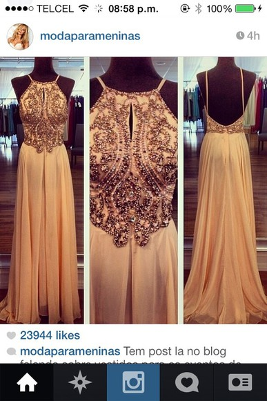 dress beige dress long prom dress prom dresses studded dress