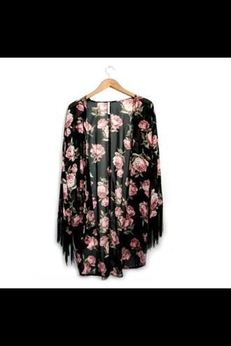 jacket floral fringe kimono boho kimono rose tassel sheer flowers