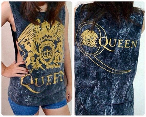 Queen stone wash black tank top shirt singlet vest men women t