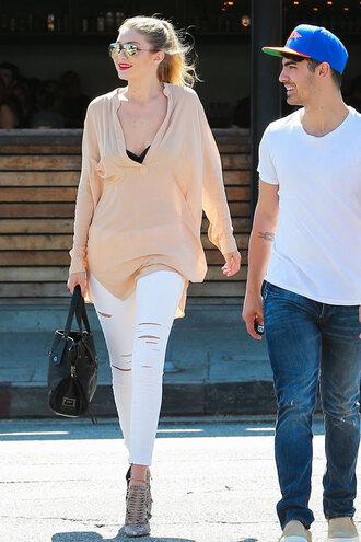 shirt dress tunic shirt dress gigi hadid pumps jeans white jeans blouse