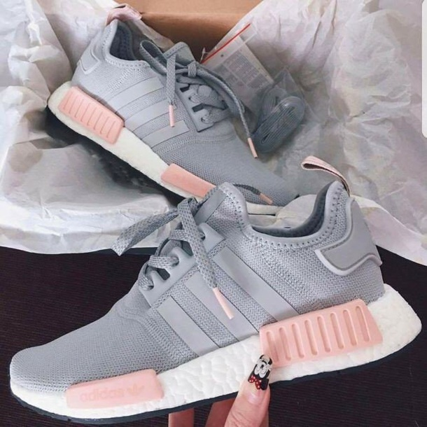 shoes adidas pink grey nmd
