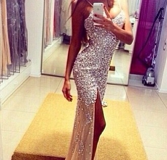 dress prom silver bam love