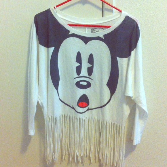 80% off Tops - Mickey Mouse fringe top from Ruby's closet on Poshmark