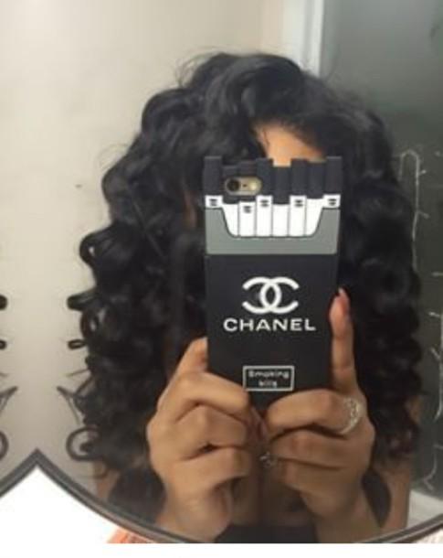 phone cover black chanel cigarette