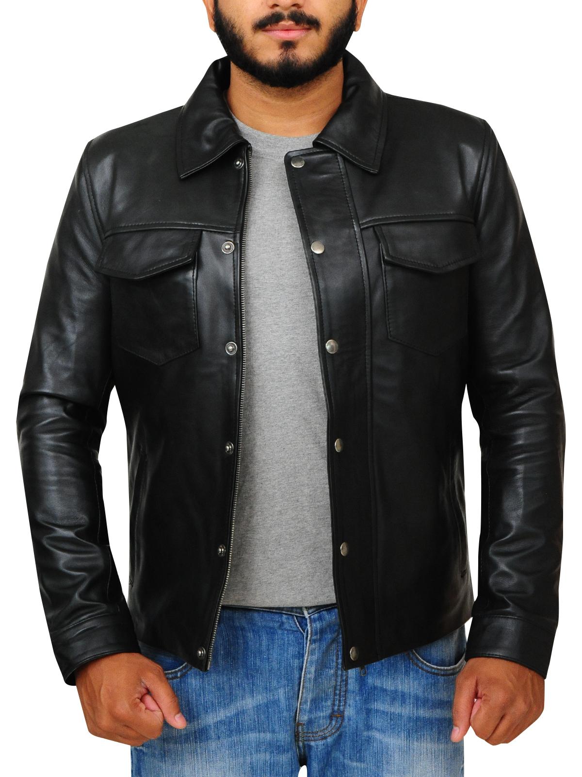 Flap Button Black Leather Jacket For Men   Men Jacket   MauveTree