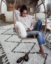 sweater,rug,tumblr,white sweater,necklace,gold necklace,gold jewelry,crescent pendant,denim,jeans,blue jeans,cropped jeans,gucci princetown,gucci,gucci shoes,glasses,hanging chair,chair,throw pillows,pillow,sincerely jules,boyfriend jeans,cozy,home decor,home furniture,blogger,jewels,instagram,gold,jewelry