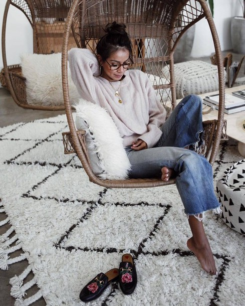 sweater rug tumblr white sweater necklace gold necklace gold jewelry crescent pendant denim jeans blue jeans cropped jeans gucci princetown gucci gucci shoes glasses hanging chair chair throw pillows pillow sincerely jules boyfriend jeans cozy home decor home furniture blogger jewels instagram gold jewelry