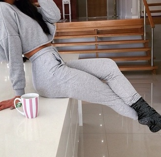 pants cropped sweater joggers
