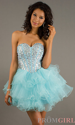 Strapless Beaded Party Dresses, Homecoming Dresses- PromGirl