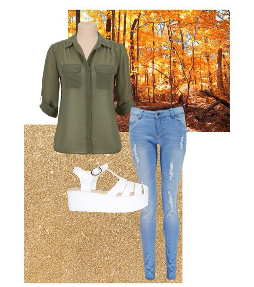 shoes jeans outfit blouse green