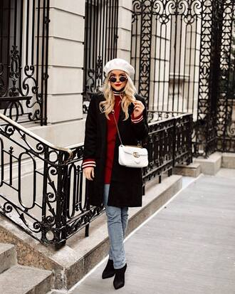 hat tumblr beret coat black coat sweater red sweater sweater weather bag white bag sunglasses denim jeans blue jeans boots black boots