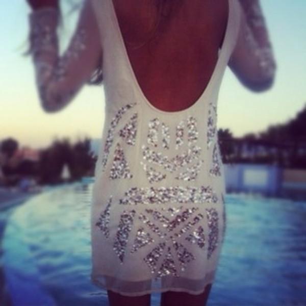 dress sparkly dress glitter dress open back long sleeve dress