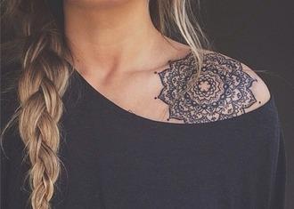 top tattoo mandala over the shoulder t-shirt