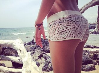 shorts summer boho boho short boho shorts mini shorts crochet white cream lace summer shorts style