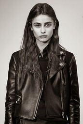 jacket,versus,biker jacket,leather jacket,black leather jacket,black leather,black,trendy,fall outfits,nappa,versace,rock,designer,luxury,made in italy,retro,classic,model,Taylor hill