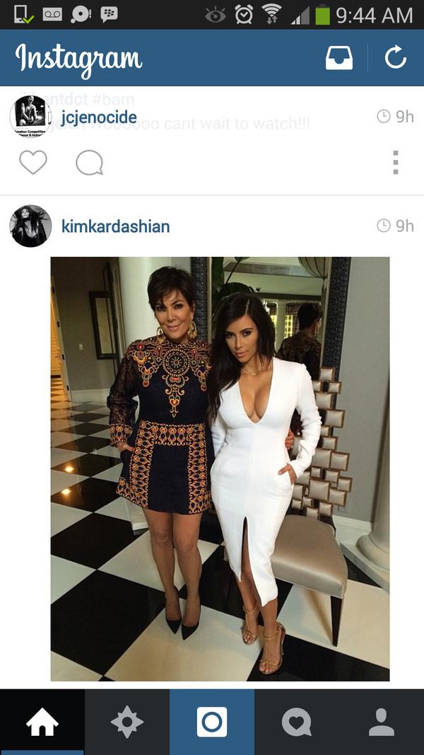dress slit white dress midi kim kardashian kim kardashian kardashians blouse kim k white dress celebrity style kim kardashian plunge v neck