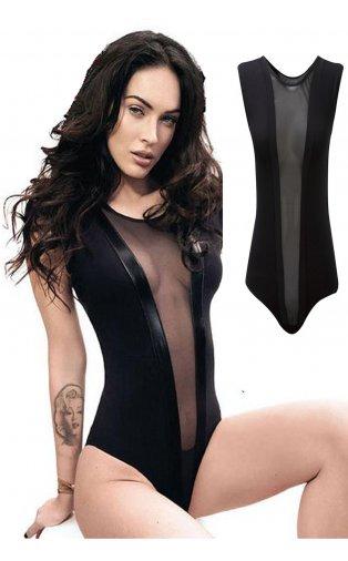 Megan mesh bodysuit in black