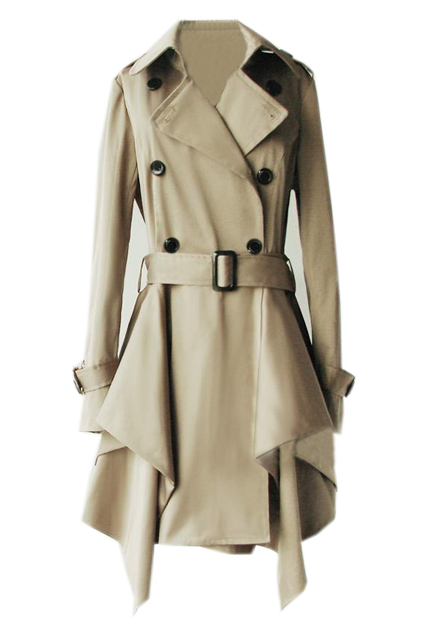 ROMWE | Lapel Buttoned Belted Asymmetric Khaki Trench Coat, The Latest Street Fashion