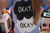 shirt,blue,the fault in our stars,baby blue,t-shirt,john green,okay okay t shirt,okay okay shirt,okay.,augustus waters,hazel grace,hazelgrace,blouse,tfios blue okay,the,fault,in,our,stars