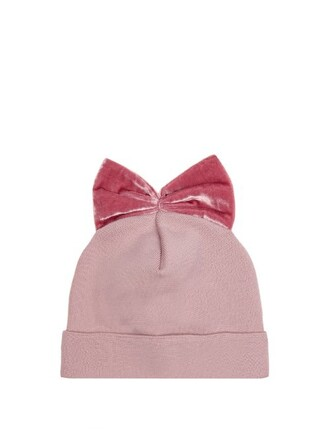 bow hat beanie velvet light pink light pink
