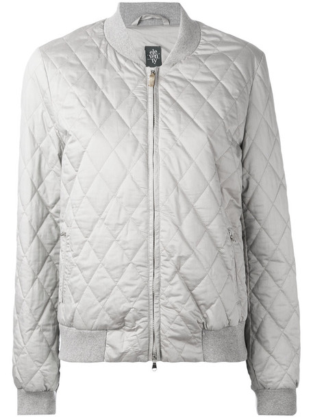 Jacket Bomber Jacket Women Quilted Cotton Silk Grey Wheretoget