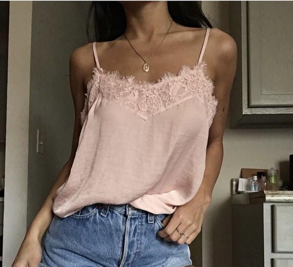 shirt pink lace top tank top baby pink peachy silk satiny