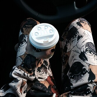 pants joggers print all over print pug pugs coffee pug print printed pants all over print clothing self shot dope urban pug joggers clothes