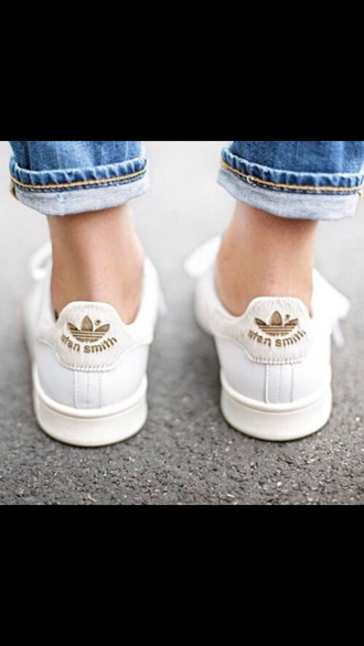 shoes white sneakers adidas stan smith gold shoes sneakers white