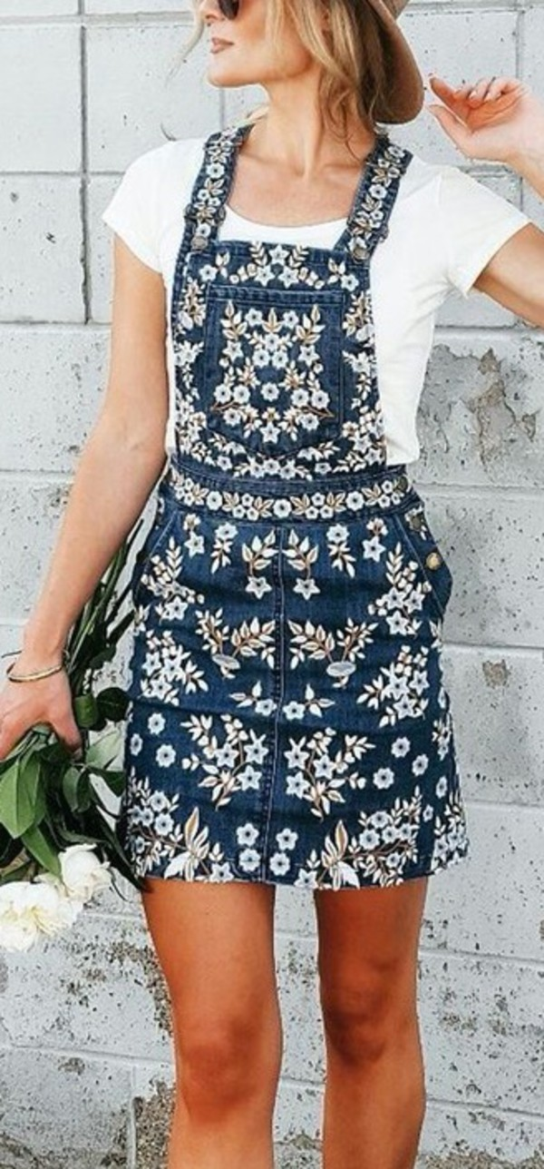 dress embriodered jean dress dungarees denim overalls denim dungarees skirt floral denim