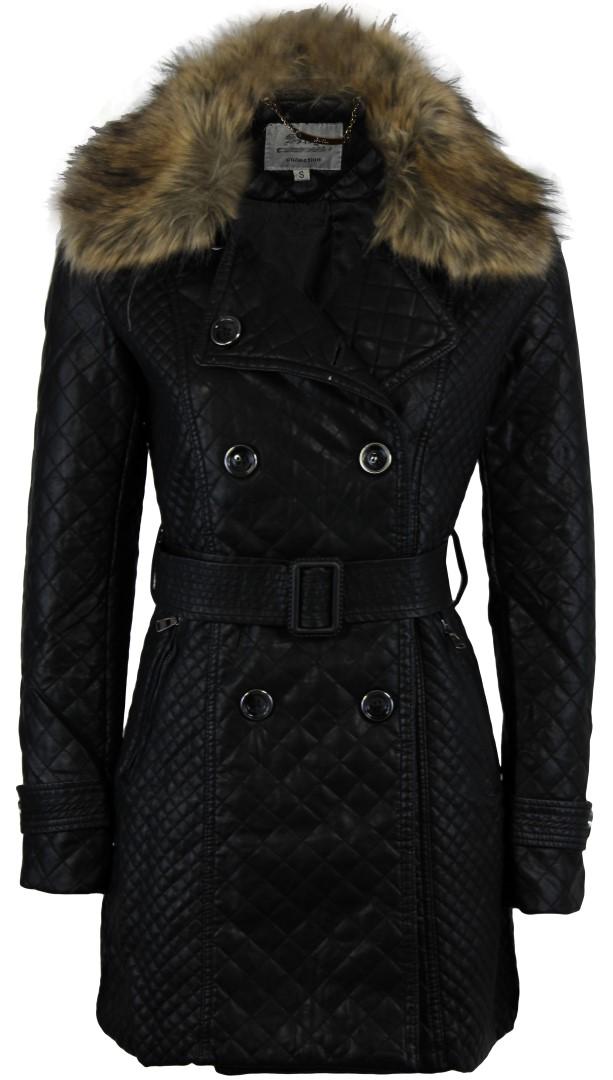 WOMENS LADIES PVC FAUX LEATHER FULL SLEEVE FUR COAT BELTED LONG JACKET   eBay