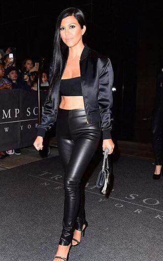 top pants jacket kourtney kardashian sandals leather leggings