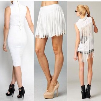 skirt trendyish fringes open back turtleneck sleeveless shirt dress midi white summer chic designer cut-out junior exposed zipper mini