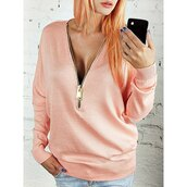 sweater,pink,fashion,style,zip,trendy,casual,cute,comfy,rose wholesale-feb,any colour