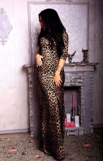 leopard print long dress animal print