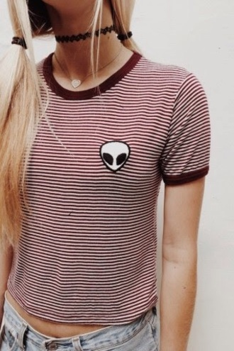 stripes t-shirt striped shirt shirt alien red top patch indie patchwork grunge t-shirt grunge jewelry hippie boho striped top striped dress jewels grunge striped skirt burgundy choker necklace red striped aliens grunge alien shirt blouse