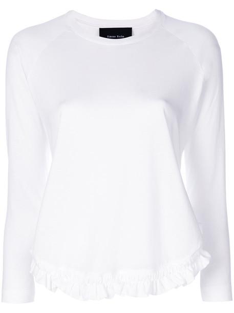 Simone Rocha t-shirt shirt t-shirt long ruffle women white cotton top