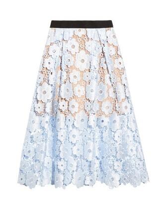 skirt midi skirt midi lace blue