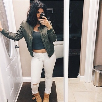 jacket coat bomber jacket bomber style green jacket green white white jeans ripped jeans jeans pants denim fashion style outfit boots timberlands jewels grey tank top vintage tumblr outfit tumblr instagram lipstick red black nail polish