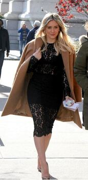 dress,lace dress,black dress,midi dress,bodycon dress,hilary duff,coat,pumps,shoes
