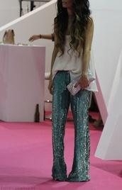 pants,sequin pants,sequins,glitter,blue,aqua,aqua blue,wide-leg pants