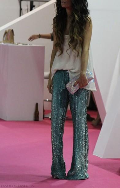 pants sequin pants sequins sequins glitter blue aqua aqua blue wide-leg pants sequins
