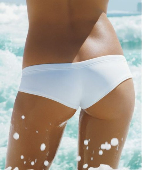 perfect simple white summer swimwear beach bikini cheeky