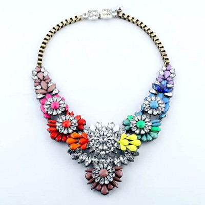 Shourouk style crystal layered flower multi colour necklace vintage statement  necklace   · dazzled247  · online store powered by storenvy