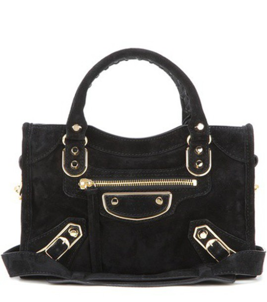 Balenciaga Classic Metallic Edge Mini City Suede Shoulder Bag in black