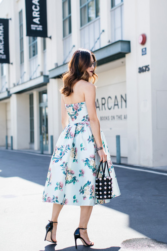 dress tumblr midi dress floral floral dress sandals sandal heels high heel sandals evening outfits bag black bag shoes